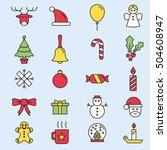 set of flat outlined christmas... | Shutterstock .eps vector #504608947