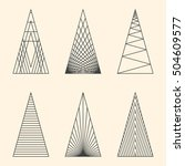 set of linear graphic stylized... | Shutterstock .eps vector #504609577