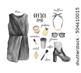 elegant office outfit. set of... | Shutterstock . vector #504610015