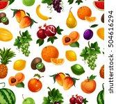 vector pattern of fresh fruits... | Shutterstock .eps vector #504616294