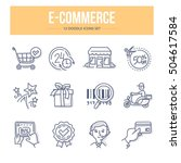 doodle vector line icons set of ... | Shutterstock .eps vector #504617584