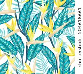 vector seamless tropical bird... | Shutterstock .eps vector #504618661