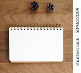 blank note book paper and pine... | Shutterstock . vector #504622009