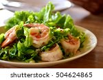 Shrimp Salad On Wooden Table