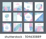 set of artistic creative merry... | Shutterstock .eps vector #504630889
