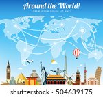 travel composition with famous... | Shutterstock .eps vector #504639175