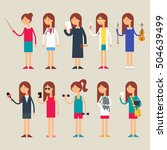 set of vector female characters ... | Shutterstock .eps vector #504639499