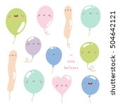 super cute set of balloons in... | Shutterstock .eps vector #504642121