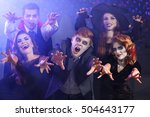 young people in costumes having ... | Shutterstock . vector #504643177