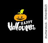 happy halloween greeting card... | Shutterstock .eps vector #504648025