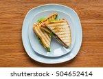 top view of healthy sandwich... | Shutterstock . vector #504652414