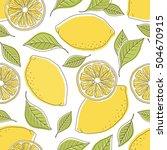 fresh lemons hand drawn... | Shutterstock .eps vector #504670915