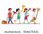 kids cleaning team doing... | Shutterstock .eps vector #504675331