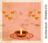 creative oil lamp  diya  with... | Shutterstock .eps vector #504681151