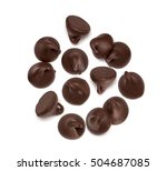 chocolate morsels spread on... | Shutterstock . vector #504687085