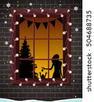 christmas window with tree... | Shutterstock .eps vector #504688735