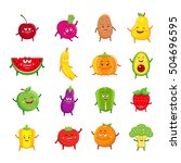 funny fruits and vegetables... | Shutterstock .eps vector #504696595