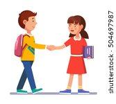 school students boy and girl... | Shutterstock .eps vector #504697987