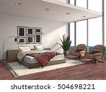 interior room cartoon. 3d... | Shutterstock . vector #504698221