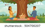 sunny afternoon outdoor picnic... | Shutterstock .eps vector #504700207