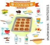 flat design baking ingredients... | Shutterstock .eps vector #504702511