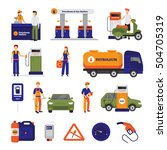 gas and petrol station icons... | Shutterstock .eps vector #504705319