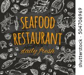 seafood restaurant card on the... | Shutterstock .eps vector #504706969