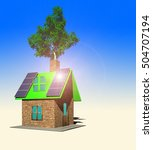 house with solar panels  3d... | Shutterstock . vector #504707194