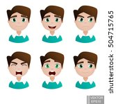 human emotions. young guy. mood.... | Shutterstock .eps vector #504715765