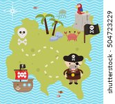treasure map theme. vector... | Shutterstock .eps vector #504723229