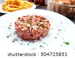tasty steak tartare  raw beef   ... | Shutterstock . vector #504725851