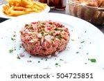 tasty steak tartare  raw beef   ...   Shutterstock . vector #504725851