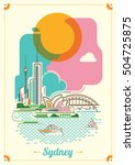 modern sydney illustration in... | Shutterstock .eps vector #504725875