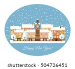 happy new year  winter town... | Shutterstock .eps vector #504726451