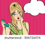 surprised  pop art woman with... | Shutterstock .eps vector #504726574