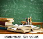 pile of books  glasses and... | Shutterstock . vector #504728905
