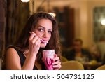young woman is eating whipped... | Shutterstock . vector #504731125