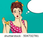 surprised  pop art woman with... | Shutterstock .eps vector #504732781