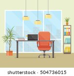 office workplace with table ... | Shutterstock .eps vector #504736015