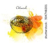 oatmeal porridge colorful... | Shutterstock .eps vector #504748201