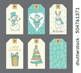 christmas cute gift tags set.... | Shutterstock .eps vector #504761371