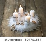 white advent wreath with...   Shutterstock . vector #504761557