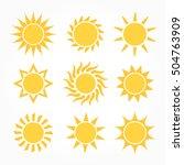 sun icons set. flat design... | Shutterstock .eps vector #504763909
