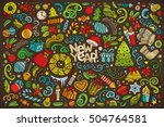 colorful vector hand drawn... | Shutterstock .eps vector #504764581