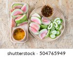ripe guava fruit cut and mango... | Shutterstock . vector #504765949