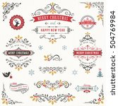 ornate vintage merry christmas... | Shutterstock .eps vector #504769984