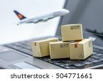 mini cardboard boxes on a... | Shutterstock . vector #504771661