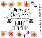 lettering merry christmas and...   Shutterstock .eps vector #504772495