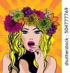 pop art excited woman with... | Shutterstock .eps vector #504777769