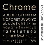 chrome letter set with gold edge | Shutterstock .eps vector #504777775